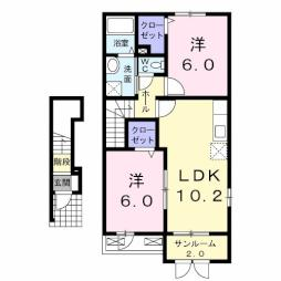 デ・ラフォーレ I 2階2LDKの間取り