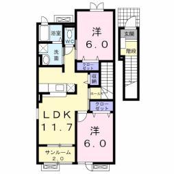 サン・ハウスA 2階2LDKの間取り