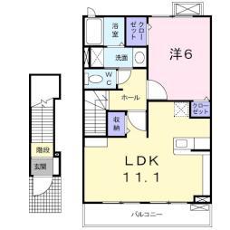 クレスト小野澤 2階1LDKの間取り