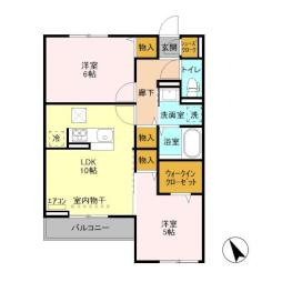 仮)D-room島名 A 3階2LDKの間取り